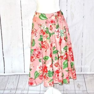 Talbots  floral a-line skirt dusty rose Plus 14